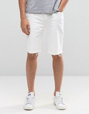 River Island Denim Shorts With Raw Hem In Slim Fit White