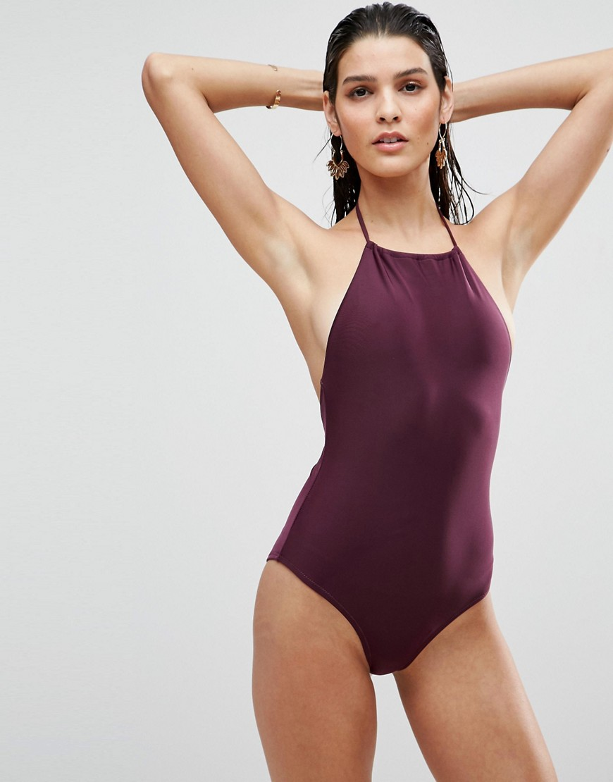 ASOS Halter Swimsuit - Purple