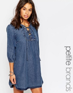 Boohoo Petite Lisa Smock Style Lace Up Denim Dress