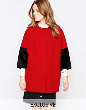Helene Berman Kimono Coat In Red With Black Faux Fur Sleeve