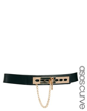 Image 1 ofASOS CURVE Link And Plate Detail Waist Belt