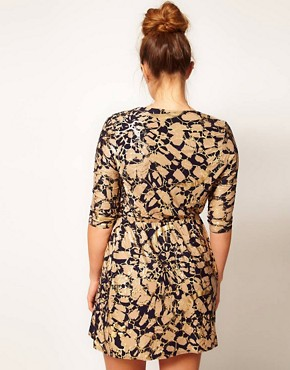 Image 2 ofASOS CURVE Exclusive Wrap Dress In Foil Print