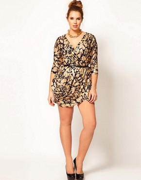 Image 4 ofASOS CURVE Exclusive Wrap Dress In Foil Print