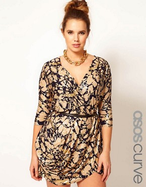 Image 1 ofASOS CURVE Exclusive Wrap Dress In Foil Print