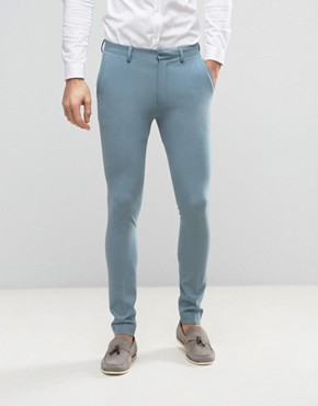 ASOS Super Skinny Suit Trousers In Pastel Blue