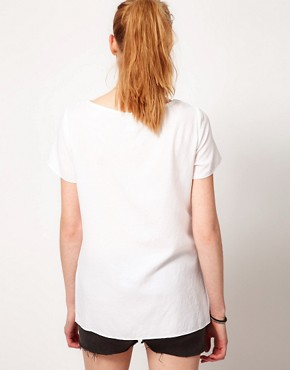 Image 2 ofVila Bow Front Woven T-Shirt
