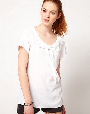 Image 1 ofVila Bow Front Woven T-Shirt