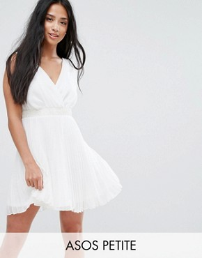 ASOS PETITE Pleated Mini Skater Dress With Embellished Waist