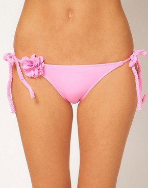 River Island Tie Side Flower Detail Bikini Brief