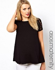 ASOS Maternity Exclusive T-Shirt With Lace Shoulder and Back