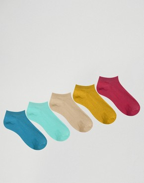 Oysho 5 Pack Multicolour Ribbed Ankle Socks