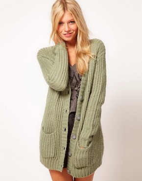 Image 1 ofASOS Chunky Rib Cardigan In Pastels