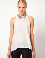 Sass And Bide The Subdivision Silk Shell With Sequined Collar