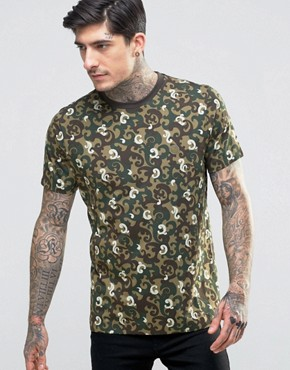 Pretty Green All Over Camo Print T-Shirt
