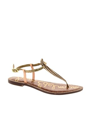Image 1 ofSam Edelman Gigi Peach Flat Sandals