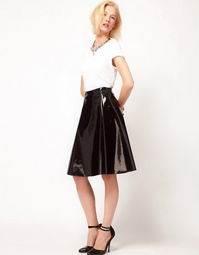 Image 1 ofASOS Skater Midi Skirt In High Shine