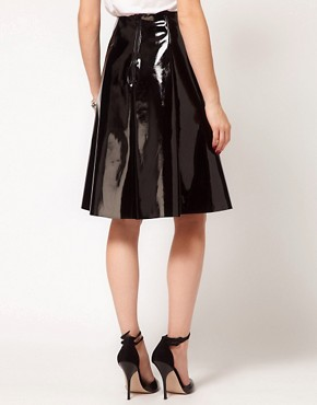 Image 2 ofASOS Skater Midi Skirt In High Shine