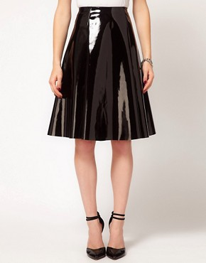 Image 4 ofASOS Skater Midi Skirt In High Shine