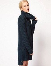 ASOS Roll Neck Knitted Dress With Zip Details