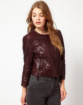Image 1 ofUrban Code Quilted Leather Biker Jacket