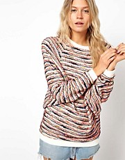 ASOS Top in Multi Colour Texture with Batwing