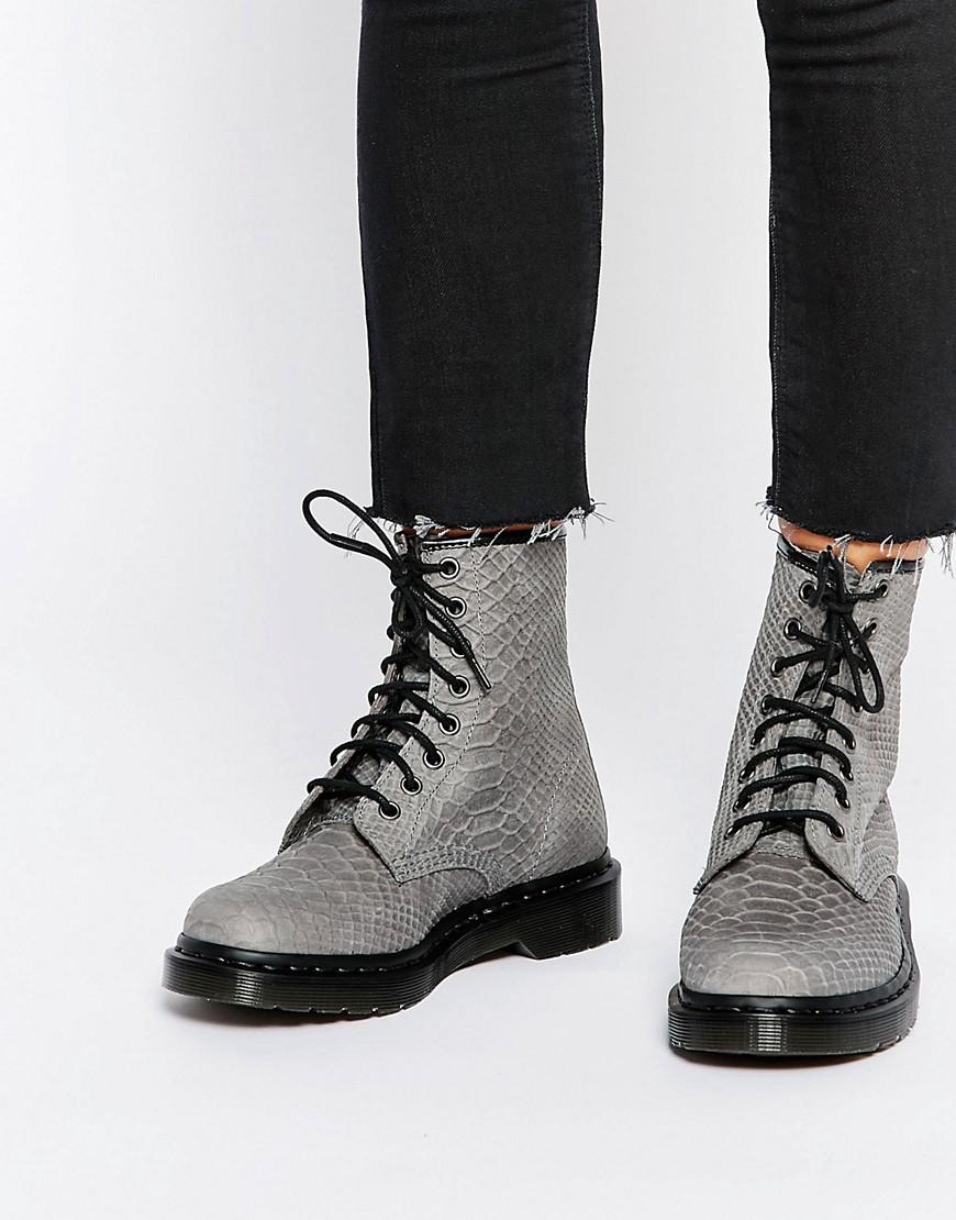 dr martens dr martens 1460 grey python suede boots at asos. Black Bedroom Furniture Sets. Home Design Ideas