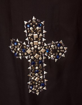 Image 3 ofASOS Top with Cross Embellishment and Woven Panel