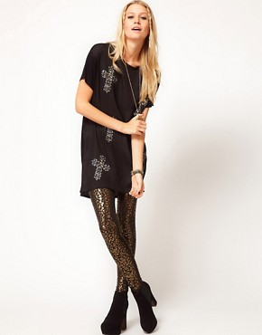Image 4 ofASOS Top with Cross Embellishment and Woven Panel