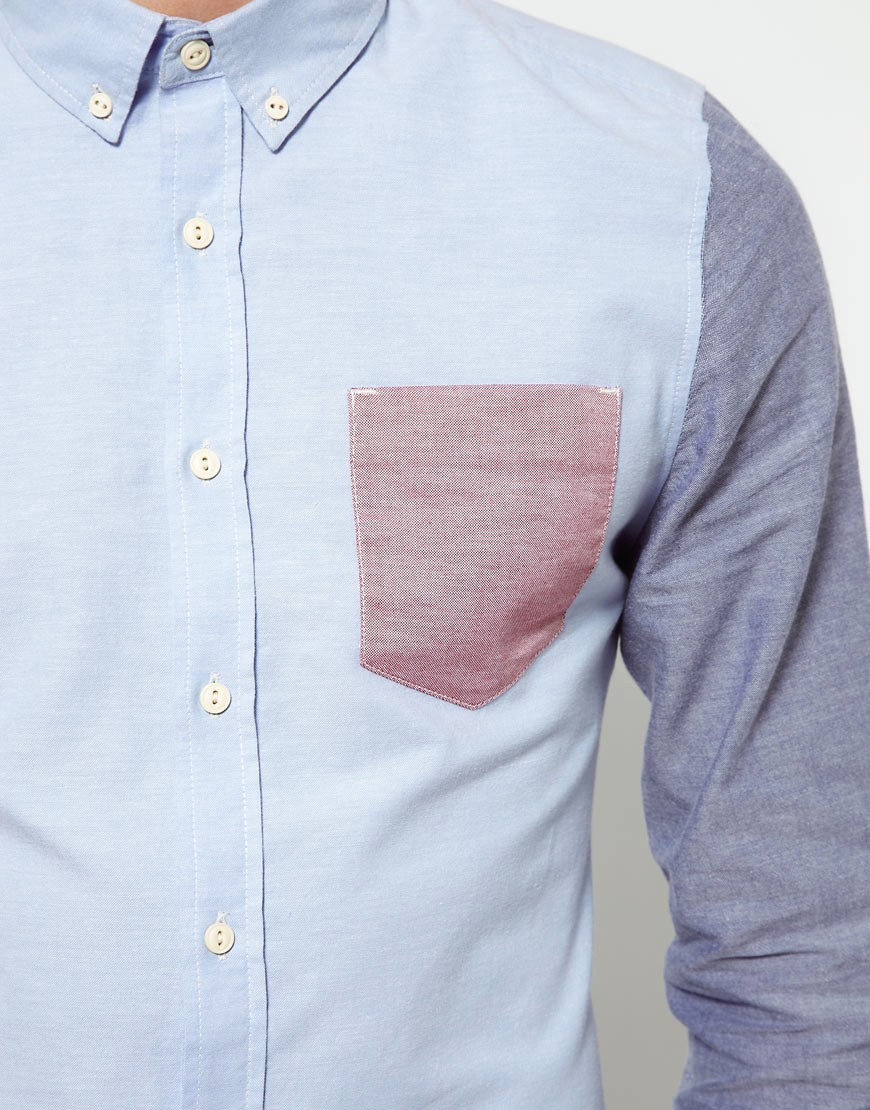 Image 3 of ASOS Oxford Shirt With Contrast Pocket