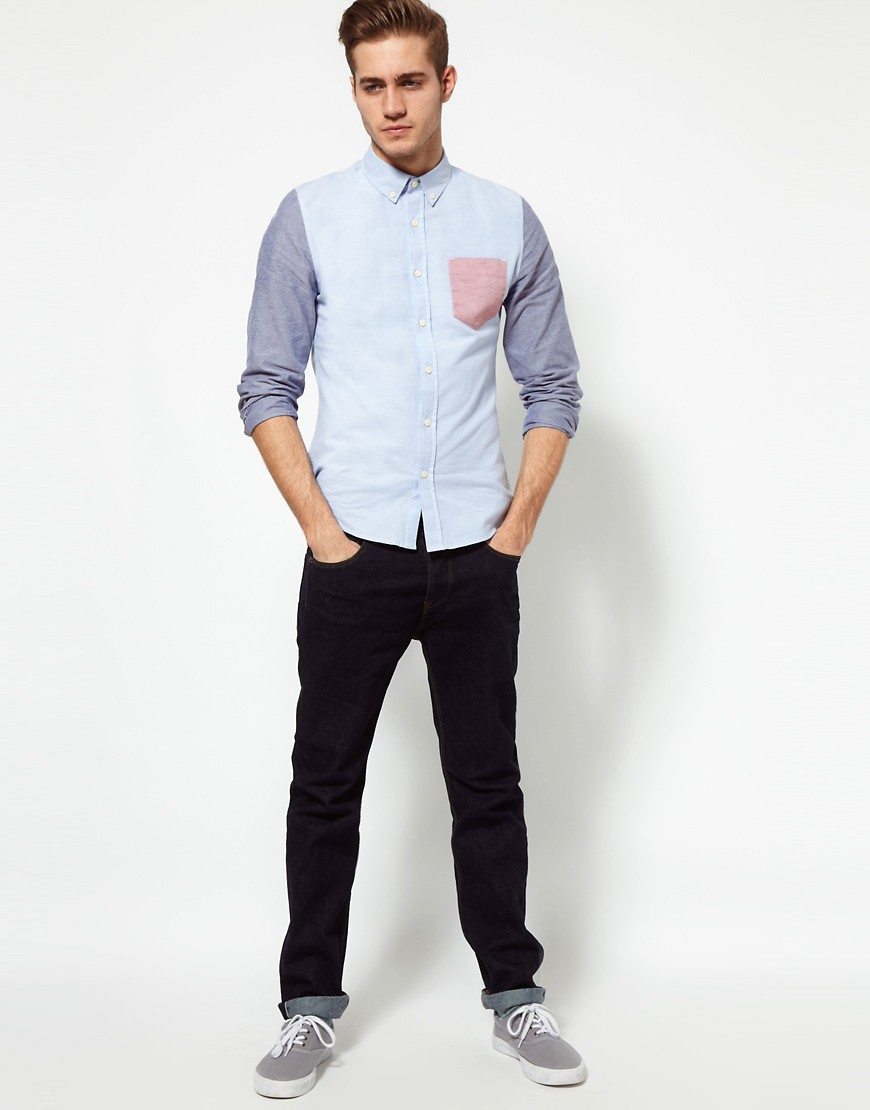 Image 4 of ASOS Oxford Shirt With Contrast Pocket