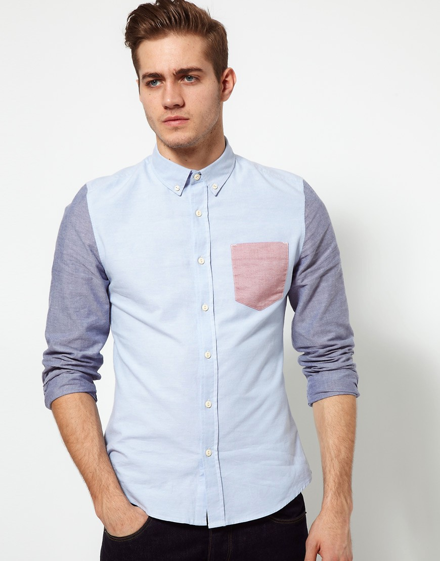 Image 1 of ASOS Oxford Shirt With Contrast Pocket