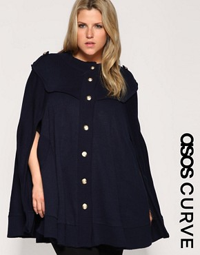 Image 1 ofASOS CURVE Military Knitted Cape