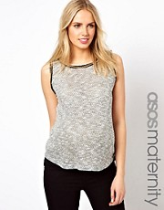 ASOS Maternity Textured Tank With Chain Trim