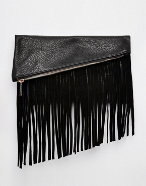 ASOS Clutch Bag With Suede Fringing