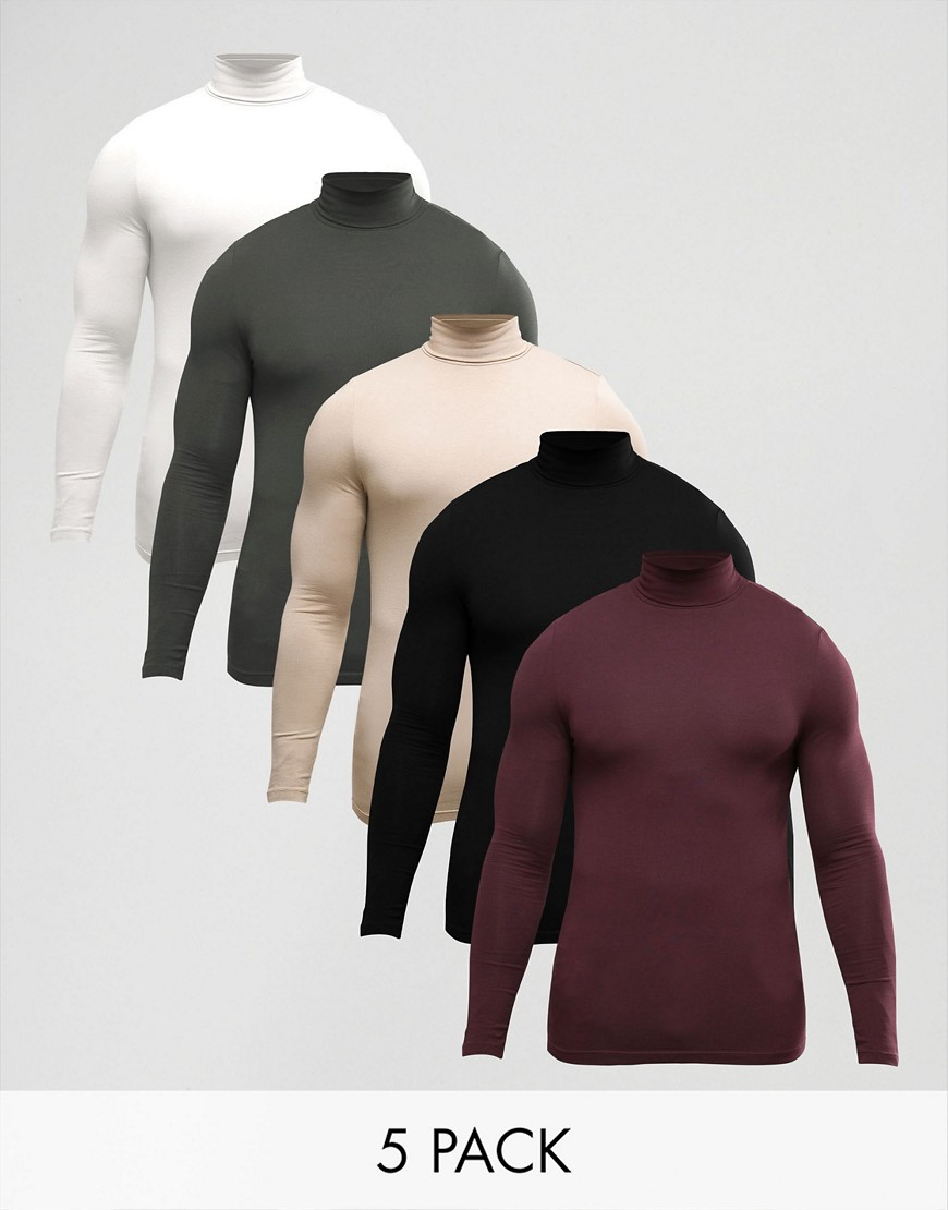 ASOS Extreme Muscle Long Sleeve T-Shirt With Roll Neck 5 Pack - Multi