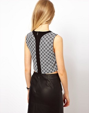 Image 2 ofASOS PETITE Exclusive Crop Top In Geo Print
