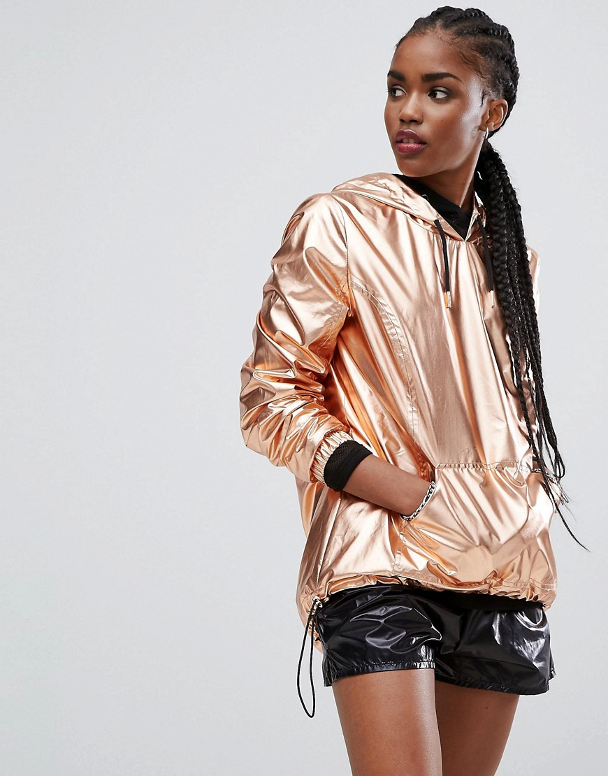 New Look Over Head Metallic Anorak - Rose gold