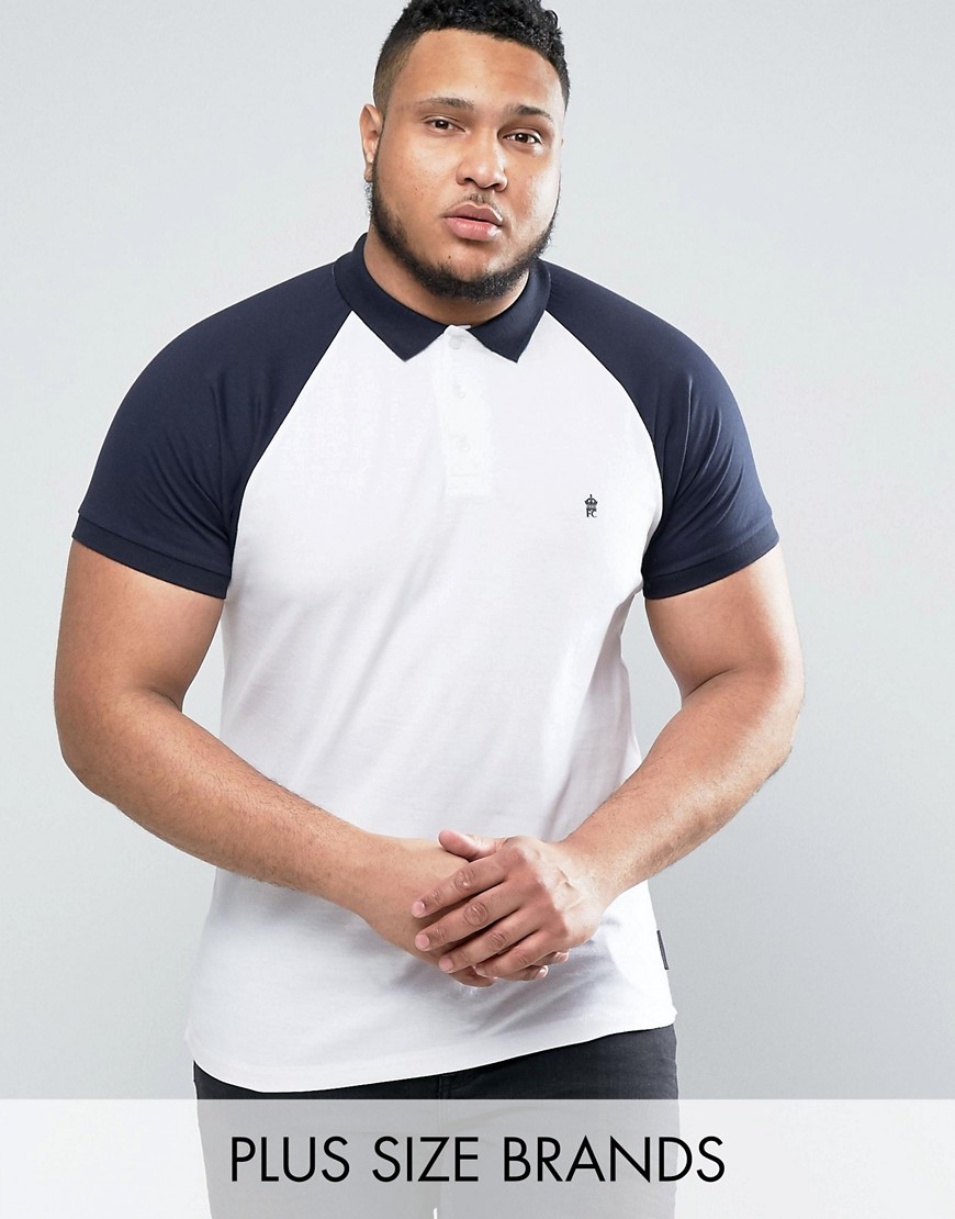 French Connection PLUS Raglan Polo Shirt with Contrast Collar - White