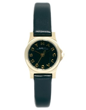 Image 1 ofMarc By Marc Jacobs Mini Henry Black Leather Strap Watch