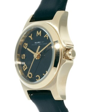 Image 4 ofMarc By Marc Jacobs Mini Henry Black Leather Strap Watch