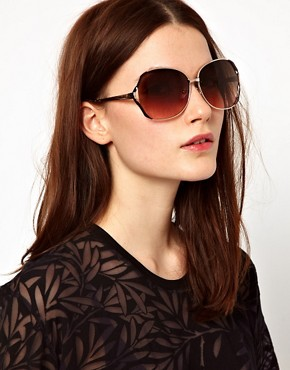 Image 3 ofMango Touch Oversized Round Metal Frame Sunglasses