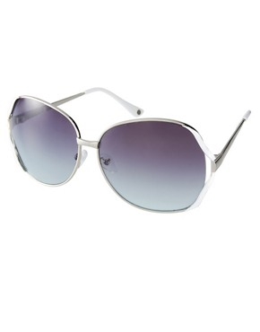 Image 1 ofMango Touch Oversized Round Metal Frame Sunglasses