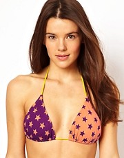 Pieces Star Contrast String Bikini Top