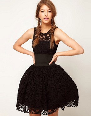 Image 1 of ASOS Prom Dress in Lace With Elastic Waist