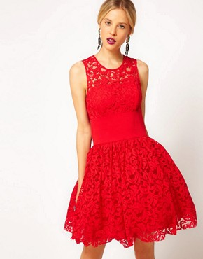 Image 1 ofASOS Prom Dress in Lace With Elastic Waist