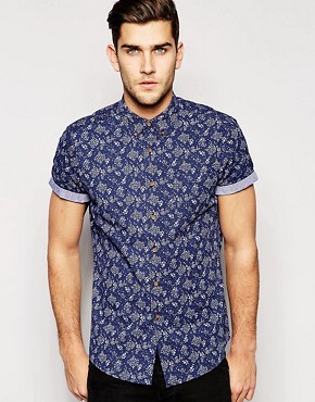ASOS Shirt In Short Sleeve With Indigo Ditsy Floral Print