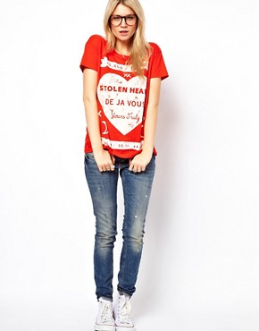 Image 4 ofASOS T-Shirt with Stolen Hearts Print