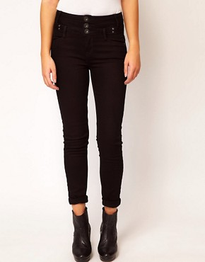 Image 1 ofRiver Island Basque Skinny Jean In Black Denim