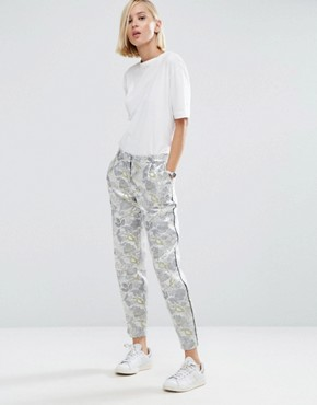 ASOS Silver Metallic Trousers With Piping