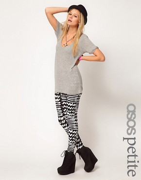 Image 1 ofASOS PETITE Exclusive Leggings with Monochrome Print